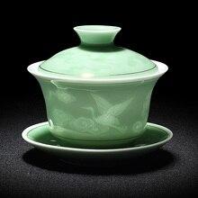 Ручная роспись нефритовые фарфоровые чернила бамбук керамический гайвань китайский чайный набор кунг-фу чайная посуда супница Sancai чайная чашка пуэр чайник