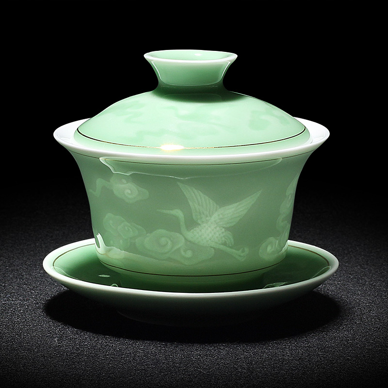 2019 Hand Painted Jade Porcelain Ink Bamboo Ceramic Gaiwan Chinese Teaset Teaware Tureen Sancai Tea Cup Pu'er Kettle