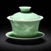 2019 Hand Painted Jade Porcelain Ink bamboo Ceramic Gaiwan Chinese Kung Fu Tea Set Teaware Tureen Sancai Tea Cup Pu'er Kettle