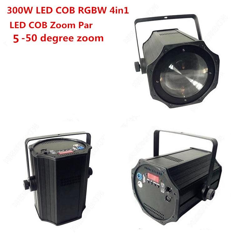 5-50 Degree LED Zoom 300W COB LED Par Light 3200K-7500K Warm White White/ RGBW 4in1 Stage Disco Light Led Par 64