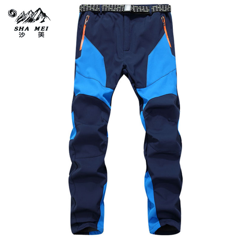 Winter Men Male Inner Fleece Softshell Pan Outdoor Hiking Fleece Camping Pants Waterproof Windbreaker Thick Warm Trousers t