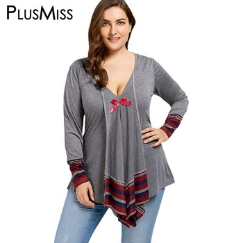 Plus Size 5XL Bowknot Striped Asymmetrical Tunic Tops Autumn 2017 Sexy Deep V Neck Long Sleeve Blouse Shirt Women Big Size