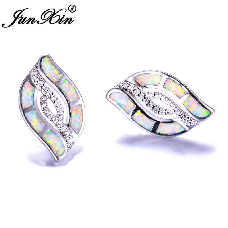 JUNXIN Cute Plant Tree Leaf Stud Earrings Blue White Fire Opal Earrings For Women Silver Color Boho Wedding Double Earrings