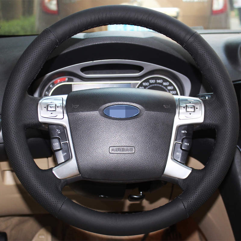 Black Artificial Leather Car Steering Wheel Cover for Ford Mondeo 2007 2012 Mk4