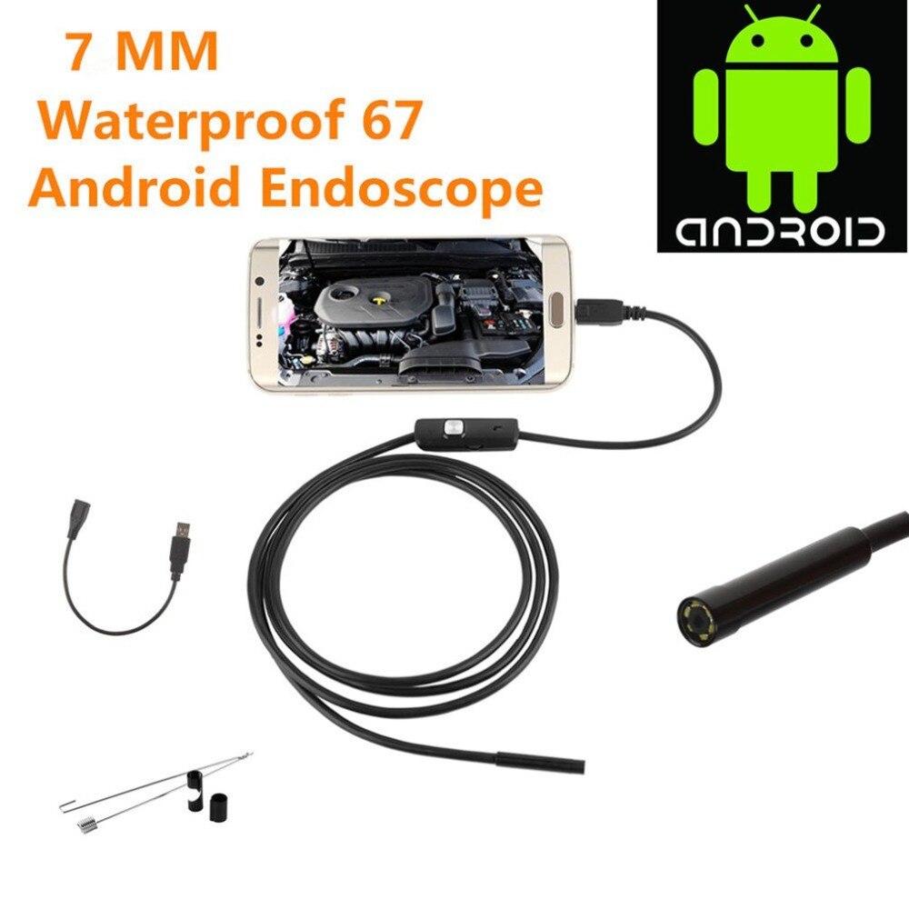Nuevo 2m para Android iPhone 7MM endoscopio impermeable boroscopio inspección Cámara 8 LED una longitud focal larga efectiva DFDF