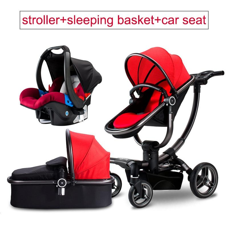 3 en 1 luxe en cuir bébé poussette bidirectionnelle chariot haut paysagistes chariot assis quatre roues bébé siège auto enfant poussette