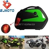 1 Set Universal Motorcycle LED Side Case ABS Plastic Side Pannier Cases For Honda Yamaha Suzuki Kawasaki BMW Luggage Tail Box