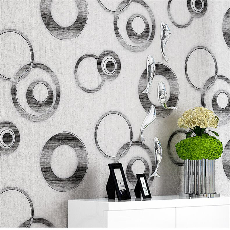 Beibehang Modern 3d black and white circle PVC waterproof wallpaper bedroom living room clothing store fashion 3D wallpaper ROLL free shipping white black rhodic deep green vintage crack paint wallpaper pvc wallpaper waterproof