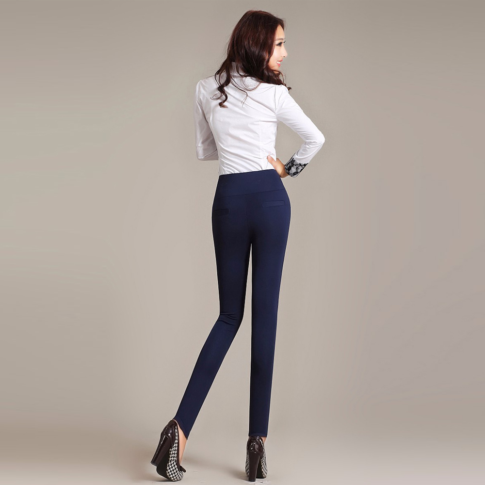 Image 2 - Women High Waist Stretch Leggings Vintage Plus Size Slim Long Trousers Sexy Bodycon Leggings Office Casual Pencil Pants Women-in Leggings from Women's Clothing