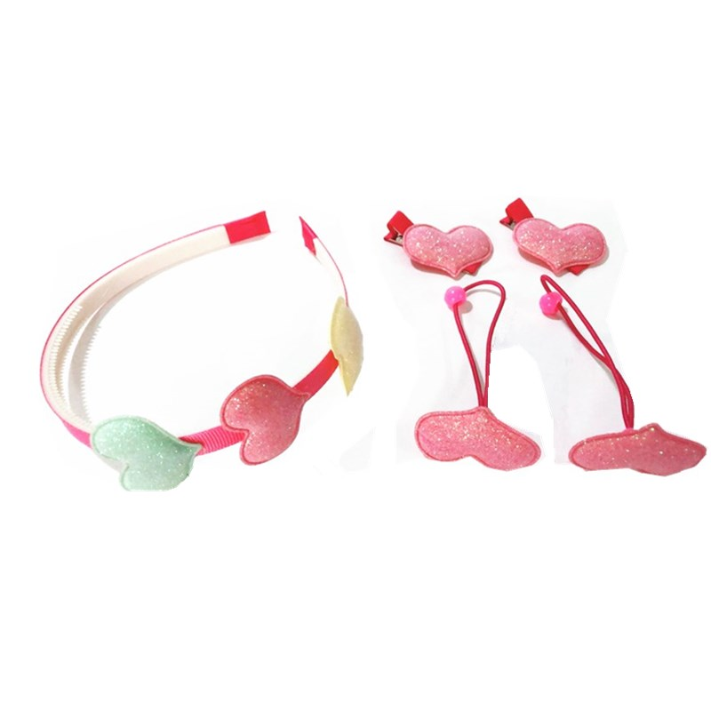 5Pcs/Set Fashion Elastic Hair Bands Pink Rose Headband Heart Hairbands Barrettes Hair Accessory for Gils Gift Rubber Gum Bow Box