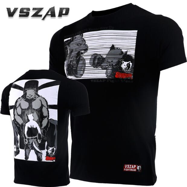 VSZAP Fighting Sports Muscle Killer Fight Short Sleeve T-shirt MMA Fitness  Thai Training Running Stretch