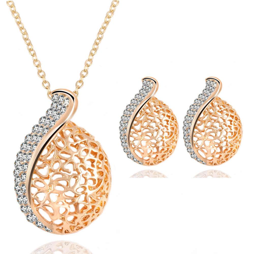 Set perhiasan warna emas berongga waterdrop austria kristal kalung anting set wanita bridal wedding berlian imitasi pendant choker
