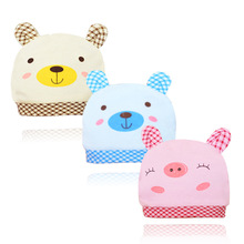 Baby Hat Boys Girls Cotton Cartoon Printed Kids Caps Newborn To Two Years Old Three Kinds Of Color Children's Christmas Gift