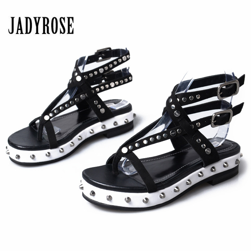 Jady Rose Flip Flops Summer Sandals Beach Shoes Woman Genuine Leather Gladiator Sandal Rivets Platform Flats Female Wedges female gladiator wedges sandal hallow out platforms high wedge shoes women rivets summer sandal beach vintage women size 34 39