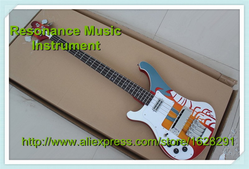 Custom Shop Multicolour Top Electric Left Handed Bass Guitar 4 String Rick R4003 Bass Guitar China стоимость