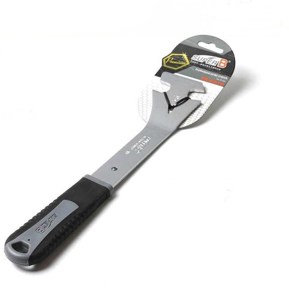 Супер B TB-PD10 Сверхмощный Профессиональный 15 мм Педальный ключ два отверстия Термообработанная высококачественная сталь Cr-Mo W/длинная ручка