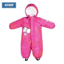 Moomin hiver bébé barboteuse 2015 NOUVEAU mode Coton Couvert Bouton À Capuchon Caractère bébé filles habit de neige chaud bébé vêtements