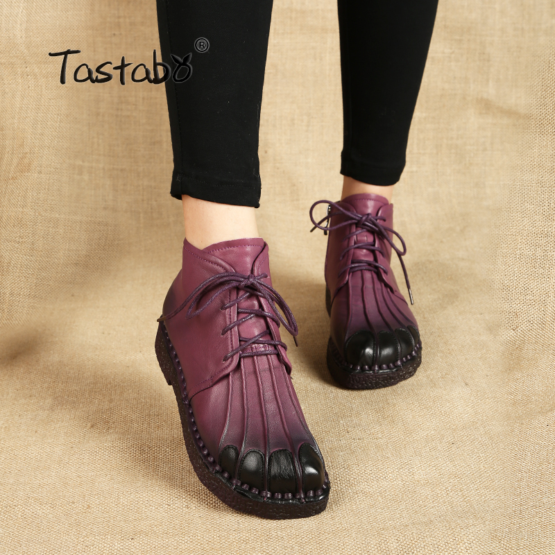 Tastabo Handmade Ankle Boots Warm Velvet Martin Flat Boots Leather Shoes Retro Winter Snow Boots Botines Mujer  Women Shoes