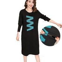 5Patterns Maternity Nursing Long T shirt Dress Cotton Breastfeeding Tops for Pregnant Women Cute Print Causal Clothes LongSleeve