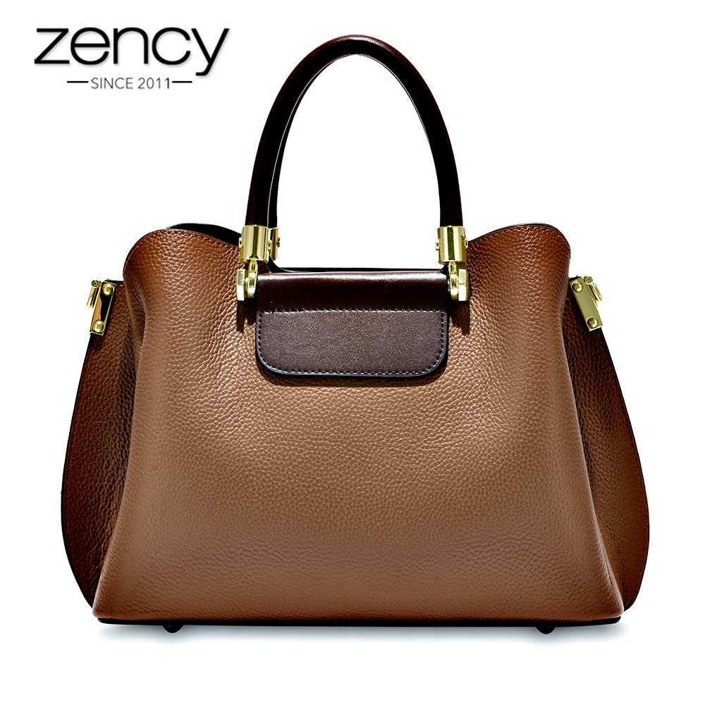 Zency Office Lady Tote Handbag 100 Genuine Leather Fashion Brown Female Crossbody Messenger Purse Large Capacity