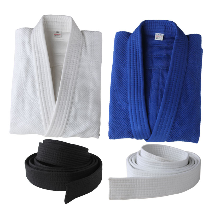 100% Cotton Jujitsu Training Suits International Standard Judo Clothing Uniforms Adult Kids Kung Fu Clothes