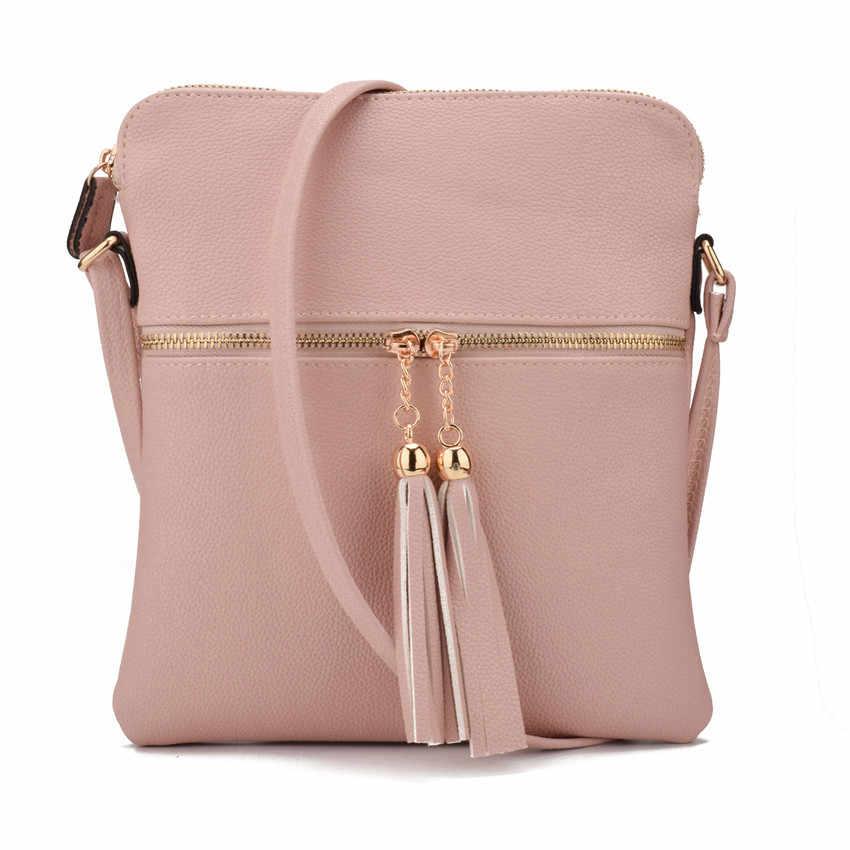a6ce33b3af20 JIARUO New Double Tassel Zipper Designer Women PU Leather Messenger  Crossbody Bags Ladies Shoulder Bags Satchel