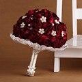 Novia de la boda ramo con broche de perlas y rosas de seda, romántica boda de la novia colorida ' s Bouquet