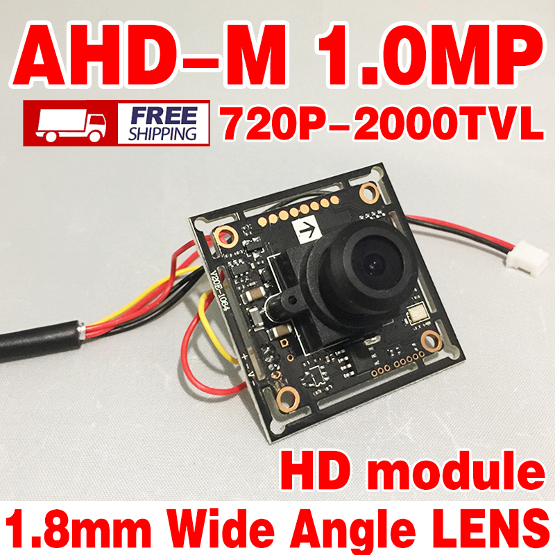 1.8mm 150 degrees big wide angle Ahd-m 1.0MegaPixel HD Finished camera chip board 2000tvl 720P digital Monitoring module+cable
