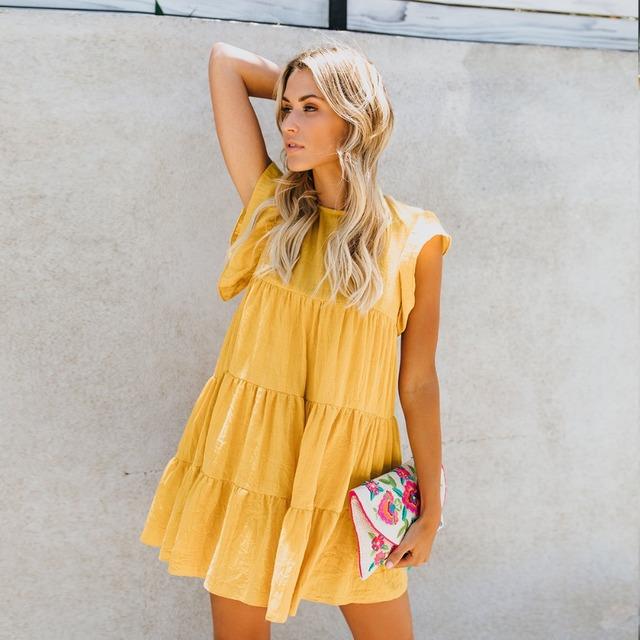 New summer boho women loose dress O-neck butterfly sleeve yellow&white&sky blue casaul beach dresses