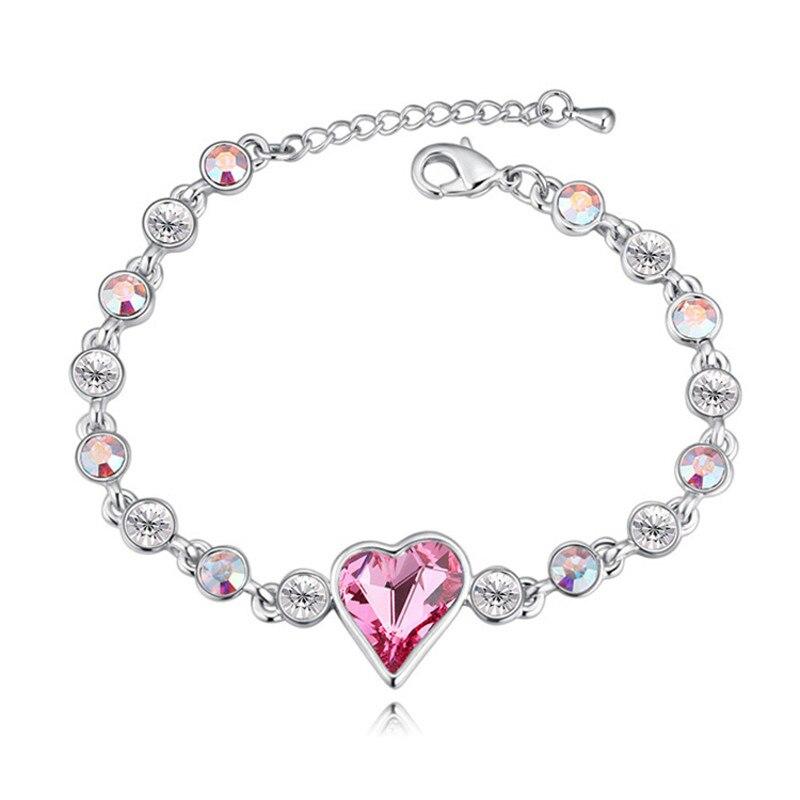 Romantique Cadeau du Jour de Valentine De Mariage Parti Bijoux Coeur En Cristal de Swarovski Femmes