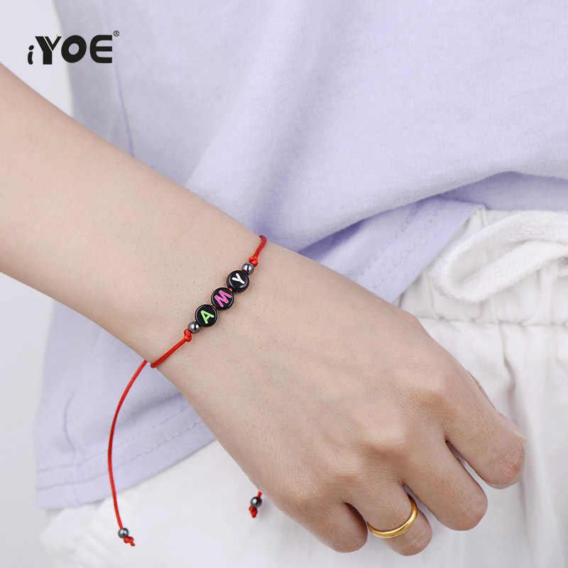 IYOE изготовленный на заказ Уникальный браслет-цепочка с надписью и именем для женщин, мужчин и детей, красные браслеты дружбы, подарки для любви, лучшее пожелание