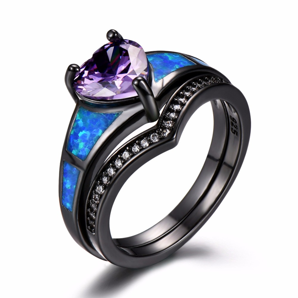 Regalos del Día de San Valentín de la joyería AAA Zircon boda anillos Oro Negro llenó los anillos azules del ópalo de fuego para las mujeres regalos de joyería