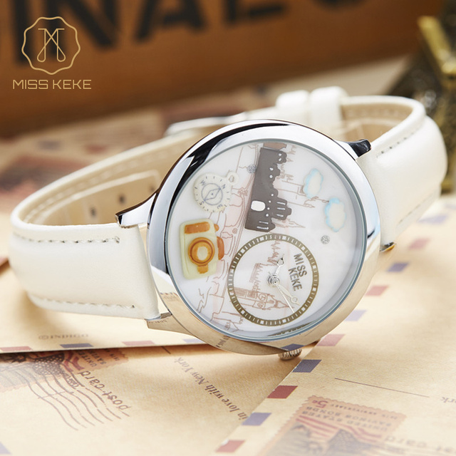 Miss Keke Children Quartz Watches Girls 3D Clay Travel Designer Cartoon-Watch Kids Leather Dress Wristwatches 861 montre enfant