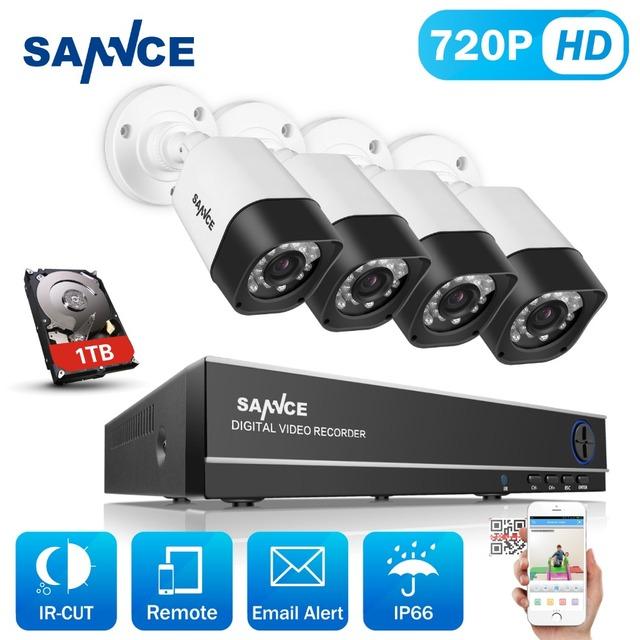 Sannce 1080n 8ch kit dvr hdmi 720 p hd cctv segurança Sistema de câmera 4 PCS Câmera de CCTV 1200TVL Vigilância Set Kit 1 TB HDD