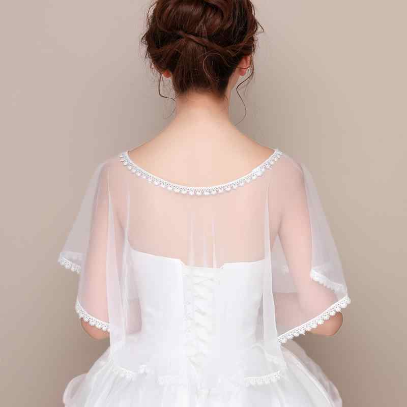 e45c698f4d668 2019 Simple White Bridal Tulle Bolero Wraps Summer Wedding Shawl Jacket  Elegant Women Formal Evening Coat Bride Cape Mariage