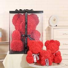 Romantic Rose Bear Valentine's Day Wedding Decoration Beauty Flower Teddy Bear Artificial Rose Flower Doll for Valentine's Day