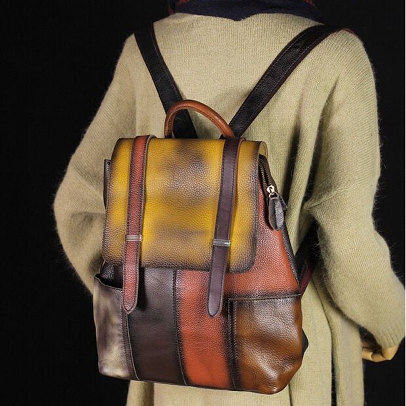 2018 New Hand Rubbing Genuine Leather Casual Women's Backpacks Patchwork Vintage Backpack School Bags