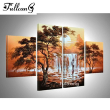 FULLCANG new diy 5d dimond painting african women diamond embroidery 4pcs full square mosaic scenery E1141