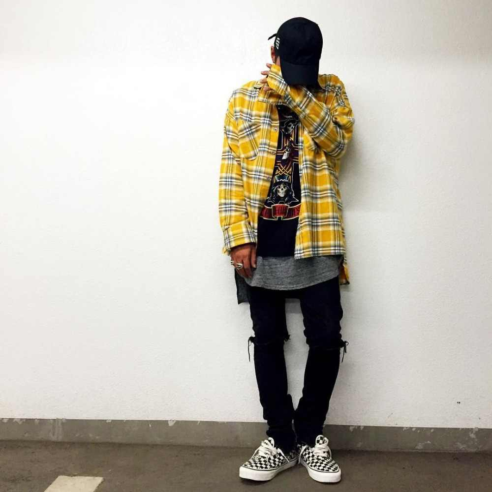 HIP hop geel plaid shirts fashion street wear tartan shirts man hot selling oversize gecontroleerd flanel shirt