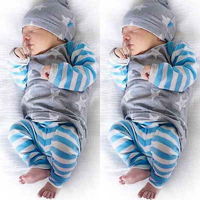 Autumn Winter Children Clothes Set Newborn Baby Girl Boy Clothes Long Sleeve Striped Tops+Pants Hat 3pcs Outfit Set 3