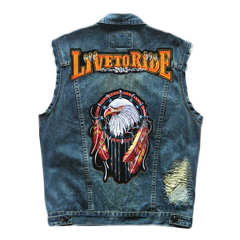 Herobiker Motorcycle jacket Retro Vintage Jeans Vest Moto Jackets Fashion Patch Designs Punk Rock Style Vest Badge Studded Coat