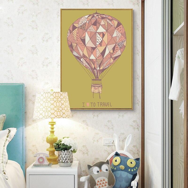 Water Drop Hot Air Balloon Tree Canvas Poster Print Home Wall Art Decor