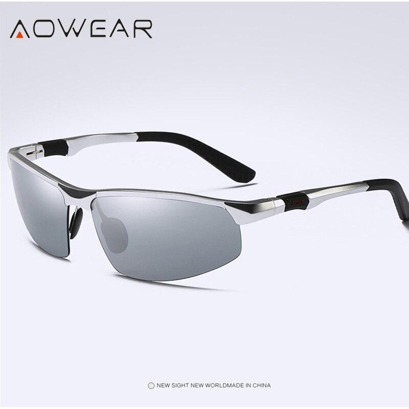 Новое поступление, мужские солнцезащитные очки AOWEAR, поляризационные, спортивные, солнцезащитные очки, мужские, UV400, антибликовые, для улицы, для вождения, зеркальные оттенки, для gafas - Цвет линз: Silver
