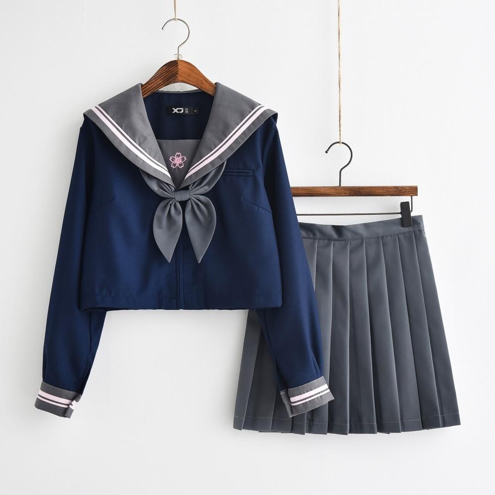 Japanese JK Uniform Navy Blue Shirt Pink Sakura Embroideried Autumn High School Women Novelty Sailor Suits Uniforms XXL