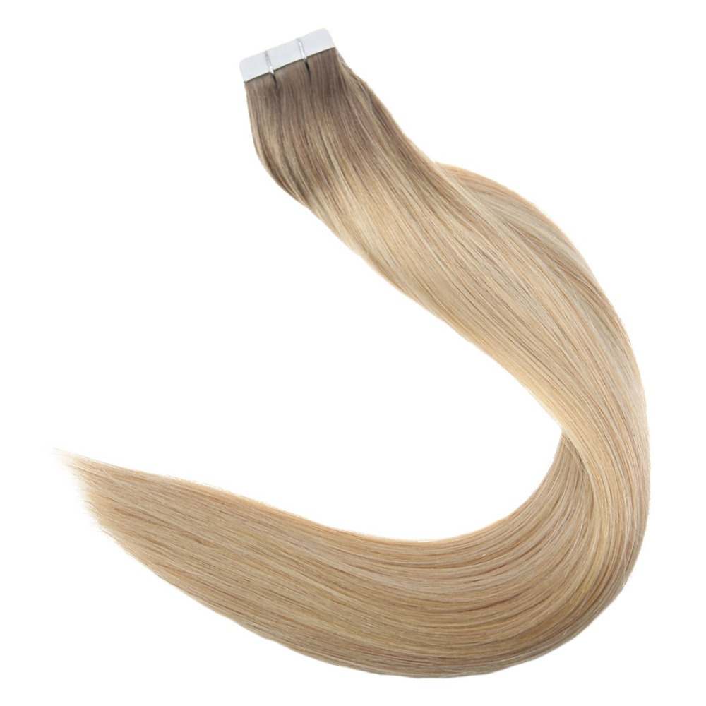 Full Shine Tape Hair Extensions 50 Gram Glue On Balyayage Color Remy Human Hair Extensions Adhesive