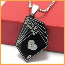 Fashion Jewelry Black Playing Card Straight Flush Pendant 316L Stainless Steel Necklace Mens Necklaces 10567