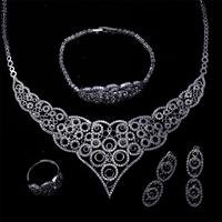 African Jewelry Sets Gold Color CZ Stone Necklace Earrings Bracelet Ring Set For Women Engagement Jewelry Costume Accessory