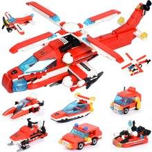 349pcs Fire Series Blocks 8 in 1 Vehicle Car Helicopter Building Blocks Bricks Enlighten Toys For Children цены