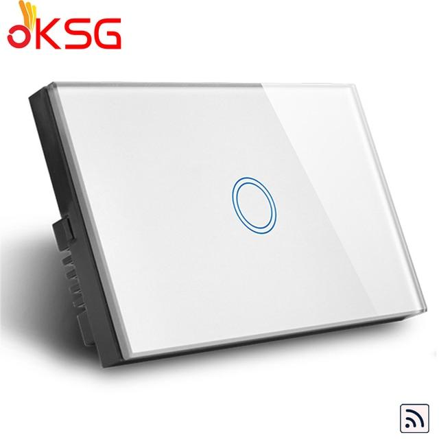 KSG, AU/US 1 Gang interruptor de luz de Control inteligente inalámbrico, interruptor de pared remoto de cristal blanco 110-240 V, interruptor de lámpara para hogar inteligente