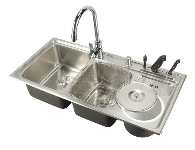 910*430*210mm) 304 Stainless Steel Kitchen Sink Brushed Vessel Set ...